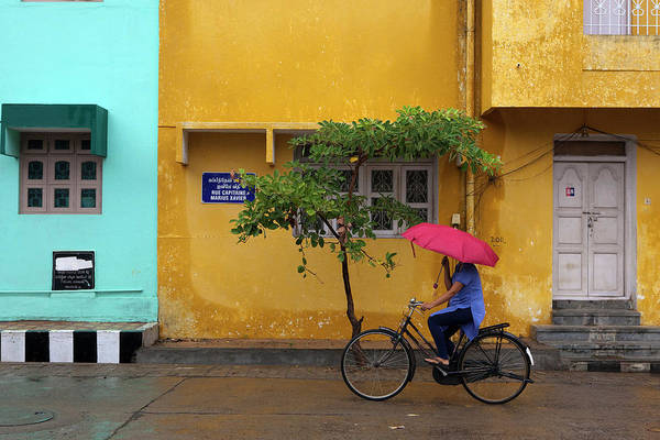 The Doors Wall Art - Photograph - Woman Cycling In Street by Claude Renault