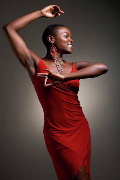 Woman Dancing In Red Dress Art Print