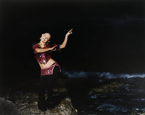 Belly Dancers Photograph - Woman Dancing On Rocky Coast, Portrait by Chris Clinton
