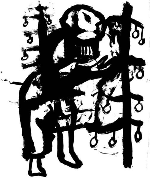 Wall Art - Drawing - Woman Decorating A Tree by Artist Dot
