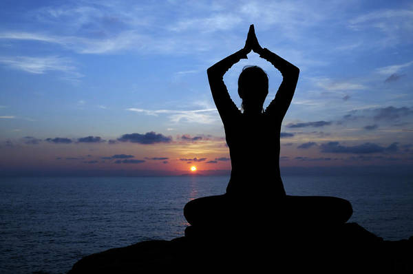Wall Art - Photograph - Woman Doing Yoga By The Sea At Sunset by Lisa-blue