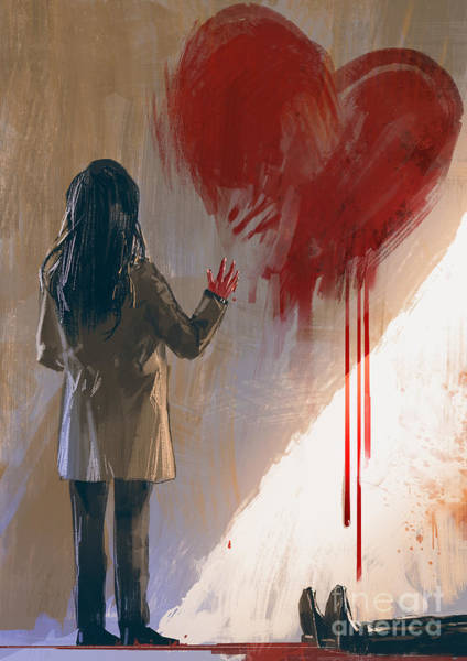 Wall Art - Digital Art - Woman Drawing Red Heart With Blood On by Tithi Luadthong