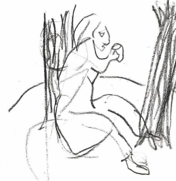 Drawing - Woman Drinking Against A Tree by Artist Dot