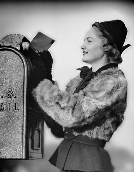 Mailbox Photograph - Woman Dropping Letter Into Mailbox by George Marks