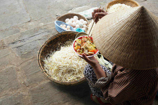 Hoi An Photograph - Woman Eating Noodles With Baskets Of by Eternity In An Instant