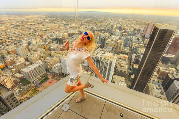 Photograph - Woman Enjoying Los Angeles Skyline by Benny Marty