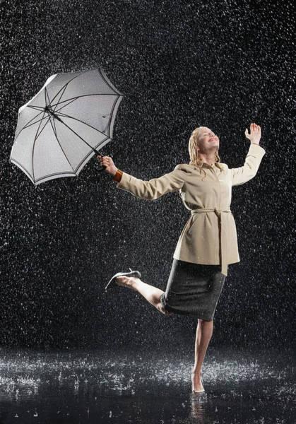 Rain Photograph - Woman Enjoying The Rain by Moodboard