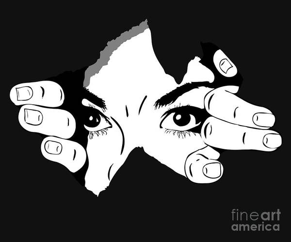 Young Man Wall Art - Digital Art - Woman Eyes From The Hole by Artex67