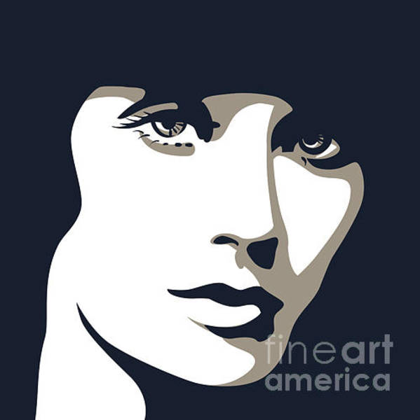 Shade Wall Art - Digital Art - Woman Face With Beautiful Eyes, Vector by Essl
