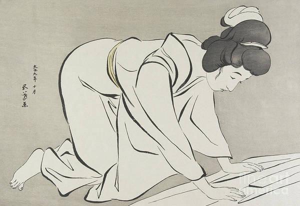 Wall Art - Painting - Woman Folding Kimono, October 1920 by Goyo Hashiguchi
