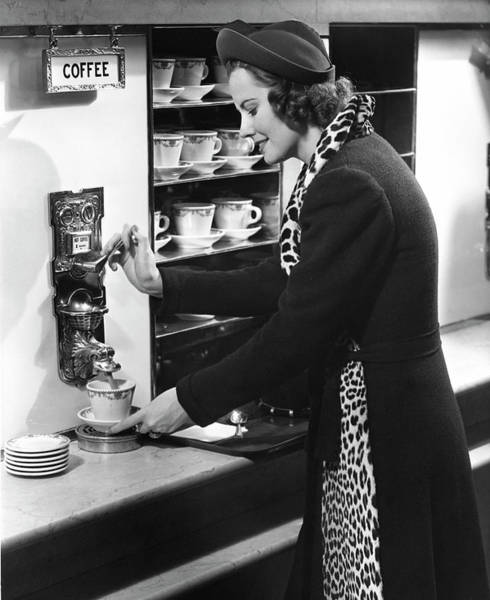 Wall Art - Photograph - Woman Getting Coffee At Old Fashioned by George Marks