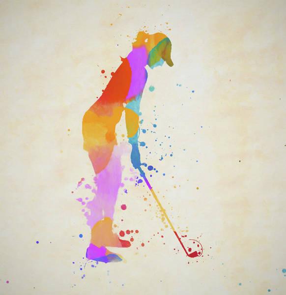 Painting - Woman Golfer Paint Splatter by Dan Sproul