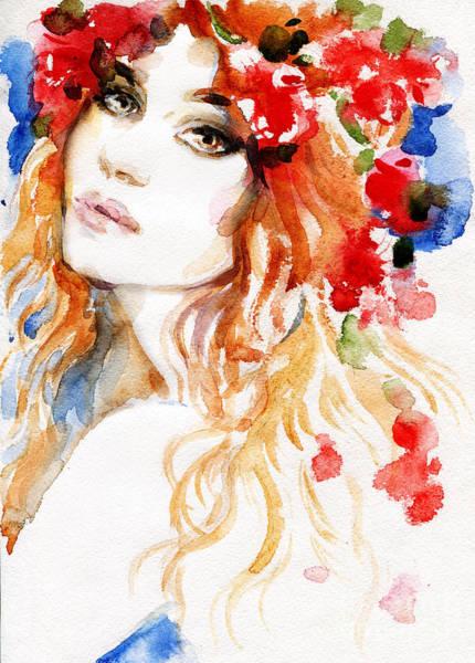 Colored Glass Digital Art - Woman. Hand Painted Fashion Illustration by Anna Ismagilova