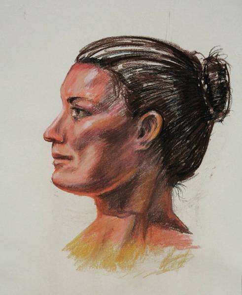 Wall Art - Painting - Woman Head Study Pastel Portrait  by Irina Sztukowski