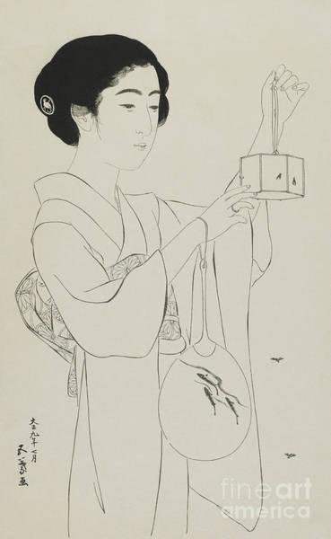 Wall Art - Drawing - Woman Holding A Firefly Cage, Taisho Era, July 1920 by Hashiguchi