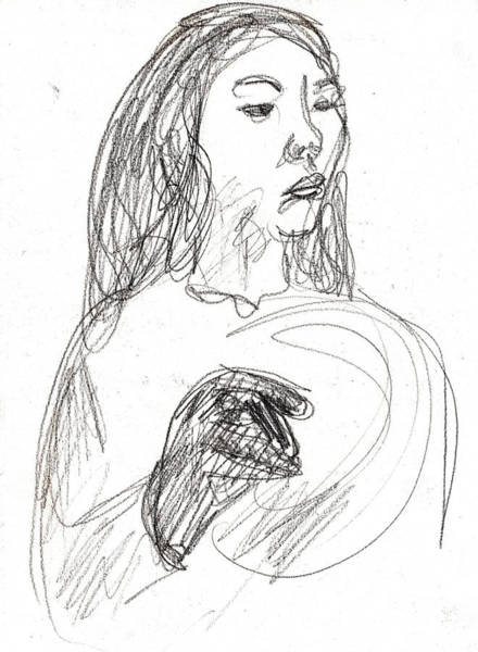 Drawing - Woman Holding A Hat by Artist Dot