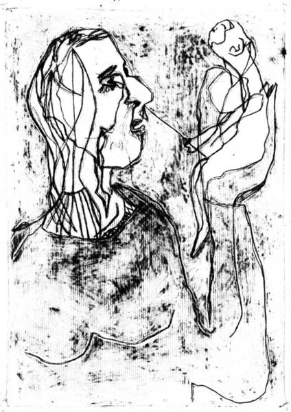 Drawing - Woman Holding A Monkey by Artist Dot