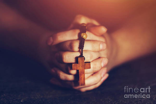 Photograph - Woman Holding A Rosary And Praying. by Michal Bednarek
