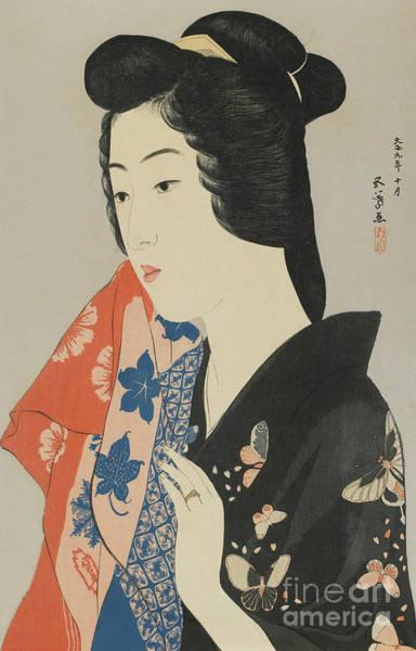 Wall Art - Painting - Woman Holding A Towel, Taisho Era, October 1920 by Hashiguchi