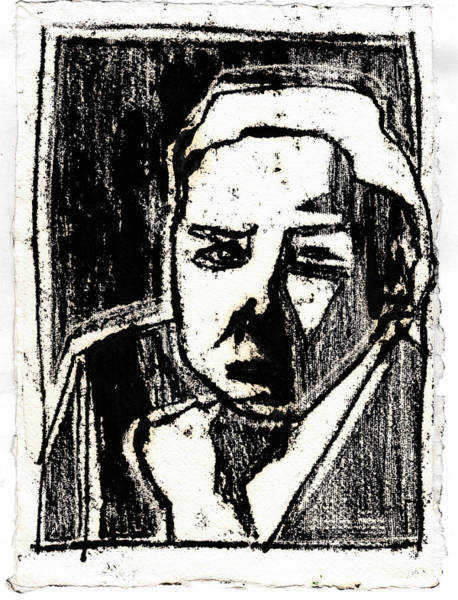 Drawing - Woman Holding Chin Black Oil Drawing by Artist Dot