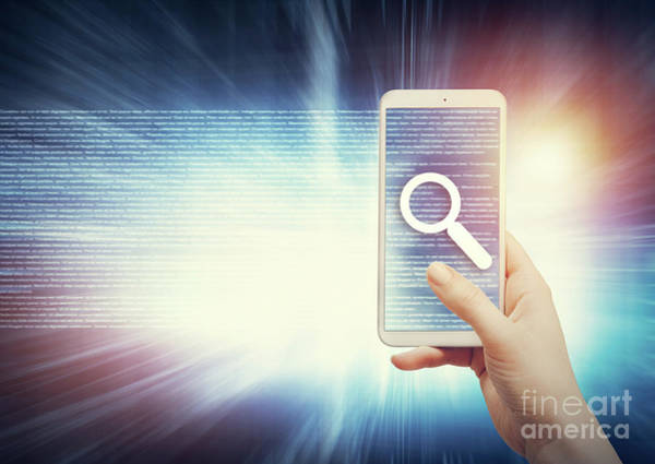 Photograph - Woman Holding Smartphone With Magnifier Icon. by Michal Bednarek