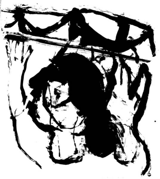 Drawing - Woman Holding Up A Bridge by Artist Dot