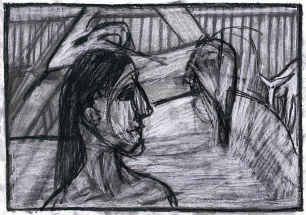 Drawing - Woman In A Barn by Artist Dot