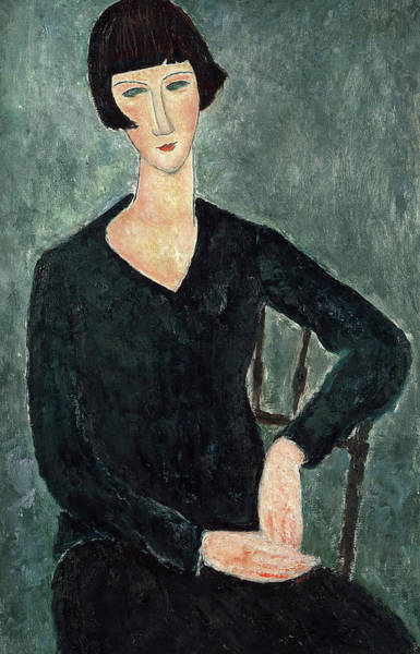 Wall Art - Painting - Woman In A Blue Dress, 1919 by Amedeo Modigliani