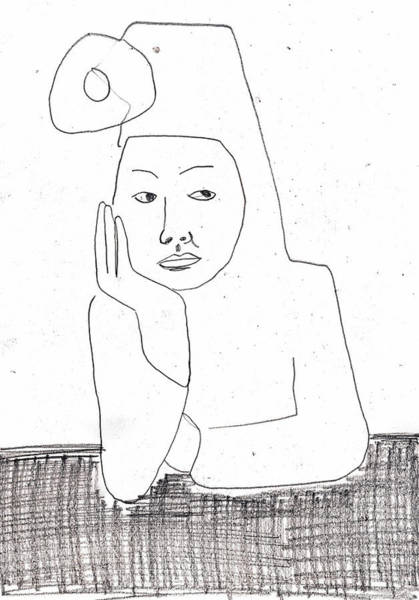 Drawing - Woman In A Hat by Artist Dot