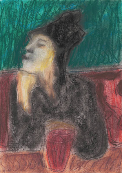 Drawing - Woman In A Pub by Artist Dot