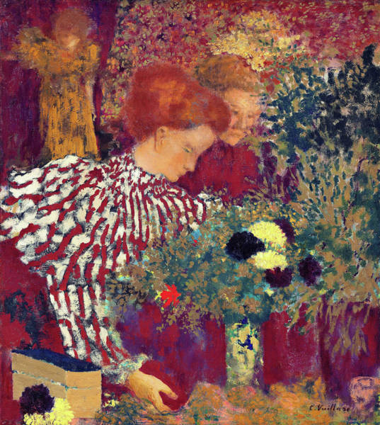 Golden Bloom Painting - Woman In A Striped Dress - Digital Remastered Edition by Edouard Vuillard