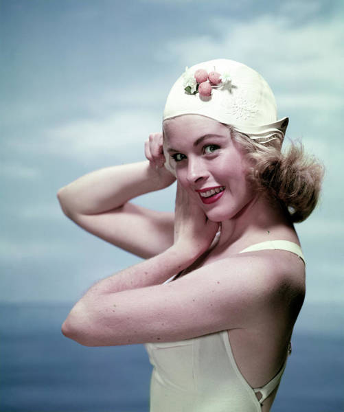 Toothy Smile Photograph - Woman In A Swim Cap by Tom Kelley Archive