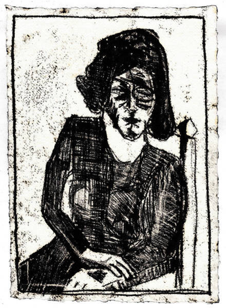 Drawing - Woman In An Armchair Black Oil Drawing by Artist Dot