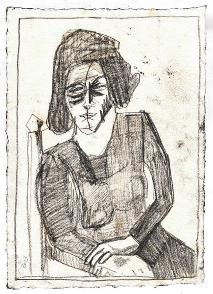 Drawing - Woman In An Armchair Pencil by Artist Dot
