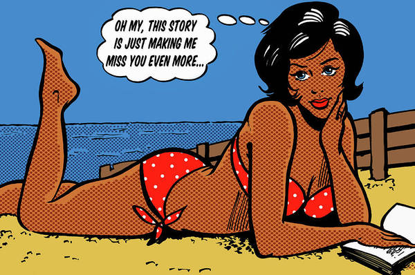 Girlfriend Digital Art - Woman In Bikini Lying On Beach With by Jacquie Boyd