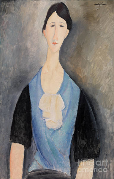 Wall Art - Painting - Woman In Blue by Amedeo Modigliani