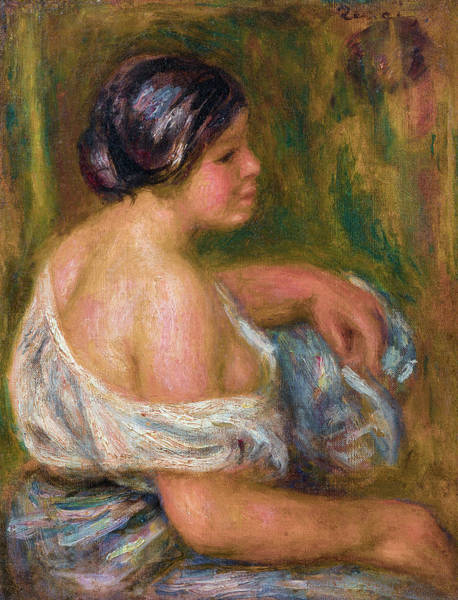 Wall Art - Painting - Woman In Blue by Pierre-Auguste Renoir