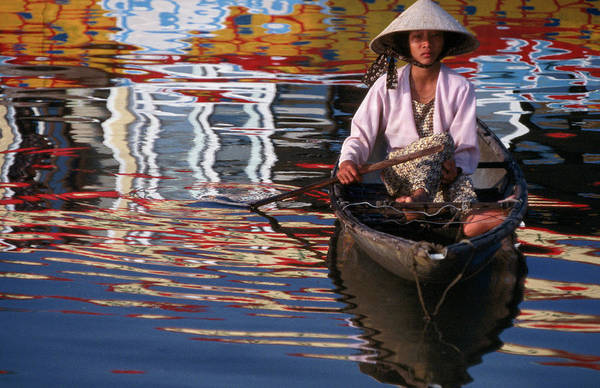 Wall Art - Photograph - Woman In Boat, Reflection Of Newly by Stu Smucker