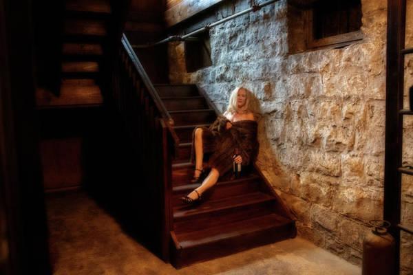 Photograph - Woman In Fur Drinking On Steps by Dan Friend