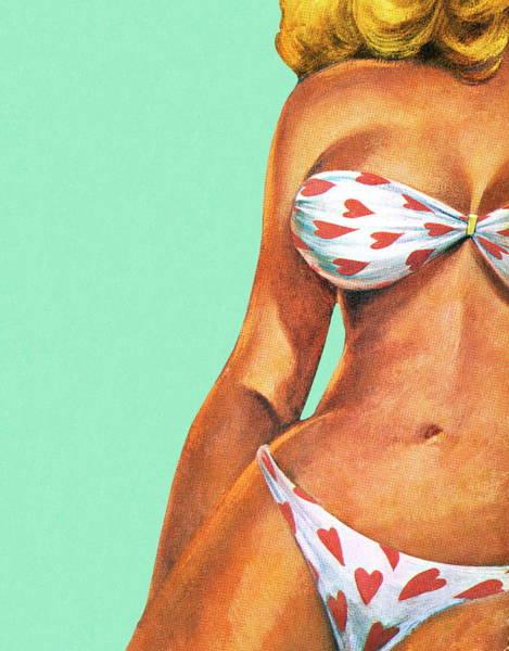 Bikini Digital Art - Woman In Heart Bikini by Csa Images