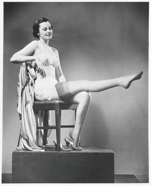 Beautiful People Photograph - Woman In Lingerie Posing In Studio, B&w by George Marks