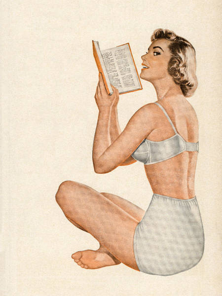 Archival Digital Art - Woman In Lingerie Reading Book by Graphicaartis