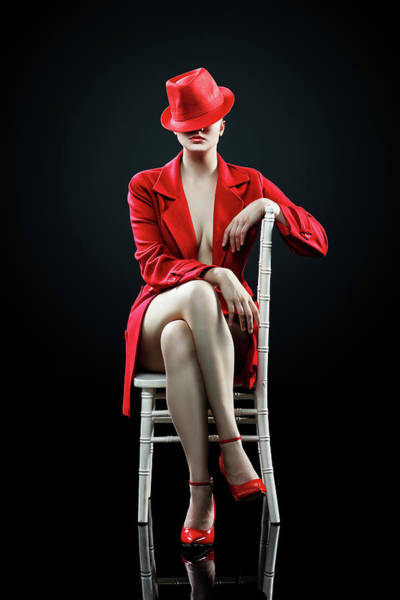 Classy Wall Art - Photograph - Woman In Red by Johan Swanepoel