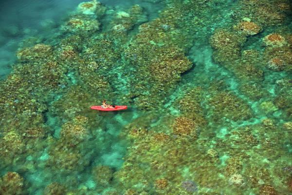 Kapalua Photograph - Woman In Red Kayak by David Olsen