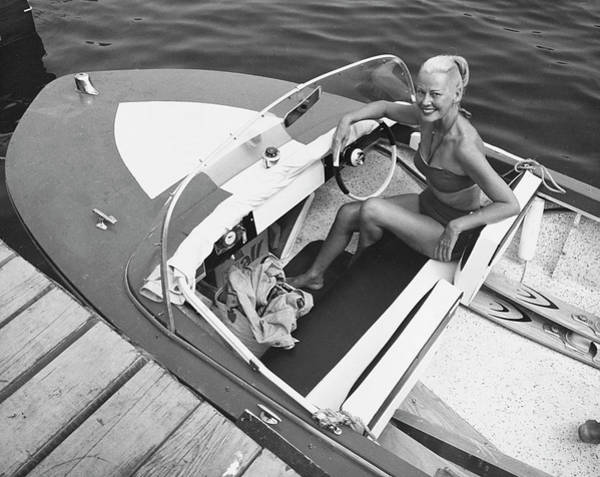Lake George Photograph - Woman In Speed Boat by George Marks