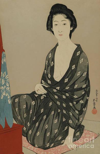 Wall Art - Painting - Woman In Summer Dress, Taisho Era, June 1920 by Goyo Hashiguchi