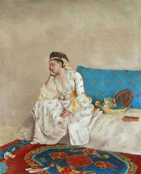 Wall Art - Drawing - Woman In Turkish Dress, Seated On A Sofa by Jean-Etienne Liotard