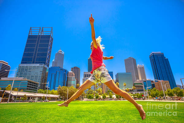 Photograph - Woman Jumping In Perth by Benny Marty
