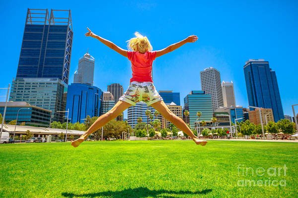 Photograph - Woman Jumping In Perth Downtown by Benny Marty