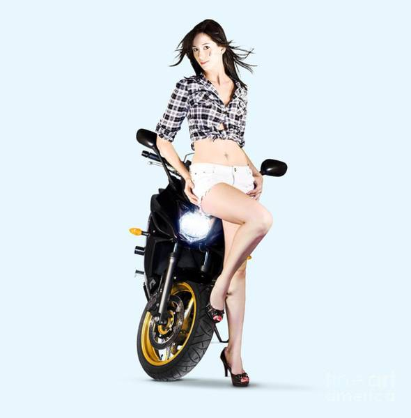 Photograph - Woman Leaning On A Motorbike by Jorgo Photography - Wall Art Gallery